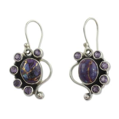 Amethyst Earrings with Purple Compositie Turquoise