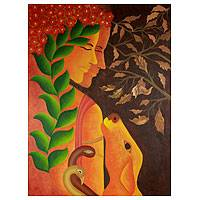'Nature's Bounty' - Forest Scene Painting from India