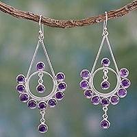 Amethyst chandelier earrings, 'Circles' - Artisan Crafted Sterling Silver and Amethyst Earrings