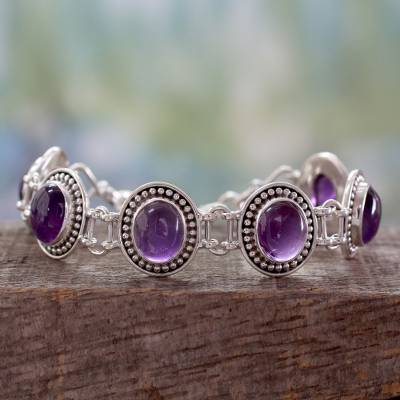 Amethyst link bracelet, 'Lilac Garland' - Sterling Silver and Amethyst Link Bracelet from India