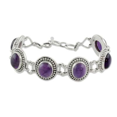 Sterling Silver and Amethyst Link Bracelet from India
