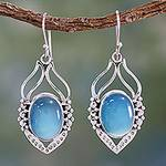Blue Chalcedony Sterling Silver Earrings from India, 'Passion Leaf'
