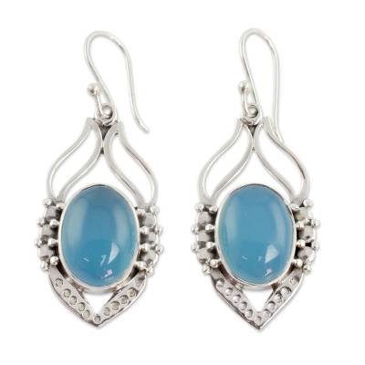 Blue Chalcedony Sterling Silver Earrings from India