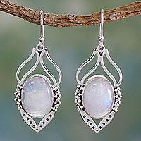 Rainbow moonstone dangle earrings, 'Passion Leaf' - Rainbow Moonstone Jewelry Indian Sterling Silver Earrings