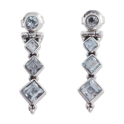 Artisan Crafted Blue Topaz Drop Earrings 3.3 Carats