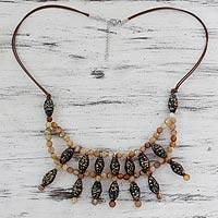 Agate and recycled paper waterfall necklace, 'Tribal Legend' - Recycled Paper Waterfall Necklace with Brown Agate