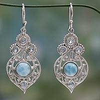 Larimar and blue topaz dangle earrings, 'Delhi Hope' - Fair Trade Larimar and Blue Topaz Sterling Silver Earrings