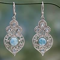 Larimar and blue topaz dangle earrings, 'Delhi Hope'