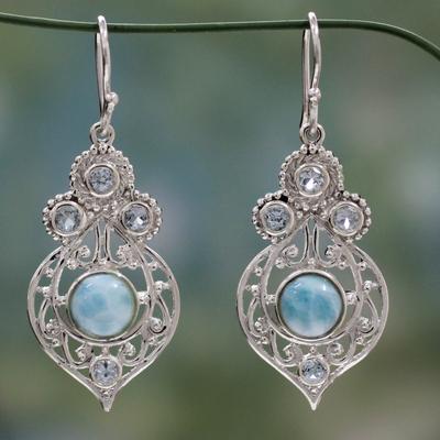 Larimar and blue topaz dangle earrings, 'Delhi Hope' - Fair Trade Larimar and Blue Topaz Sterling Silver Earrings