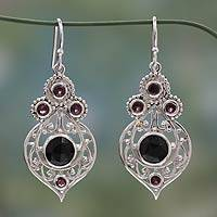 Onyx and garnet dangle earrings, 'Delhi Hope' - Fair Trade Onyx and Garnet Sterling Silver Dangle Earrings