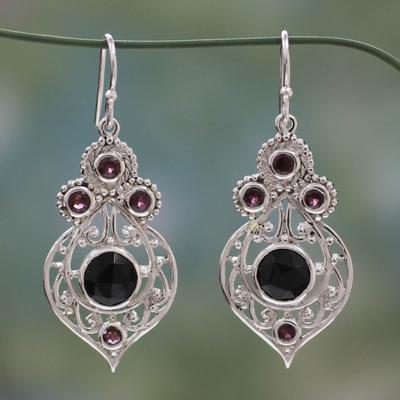 Onyx and garnet dangle earrings, 'Delhi Hope' - Fair Trade Onyx and Garnet Sterling Silver Dangle Earrings