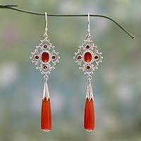 Carnelian and garnet dangle earrings, 'Fascination' - Hand Made Carnelian and Garnet Dangle Earrings