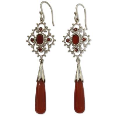 Carnelian and garnet dangle earrings, 'Fascination' - Hand Made Carnelian and Garnet Dangle Earrings