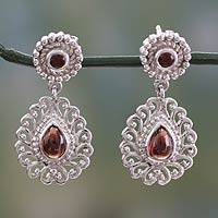 Garnet dangle earrings, 'Passion's Truth' - Garnet and Sterling Silver Earrings from India