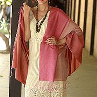 Silk and wool shawl, 'Rosy Blush' - Shaded Pink Shawl in Silk and Wool