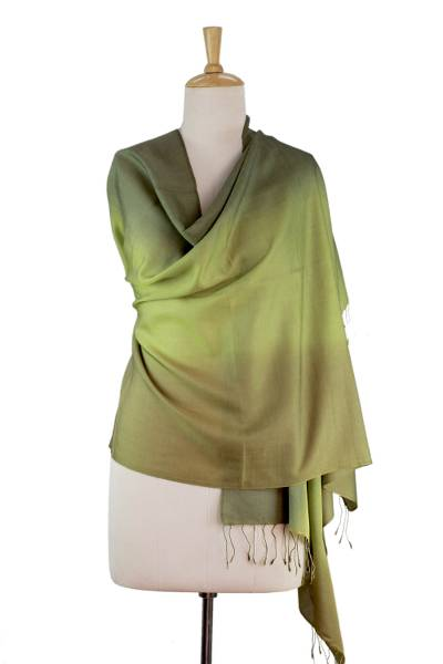 Silk and wool shawl, 'Forest Whisper' - Shaded Green Shawl in Silk and Wool