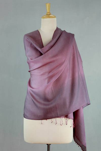 Silk and wool shawl, 'Amethyst Sigh' - Shaded Pink Shawl in Silk and Wool