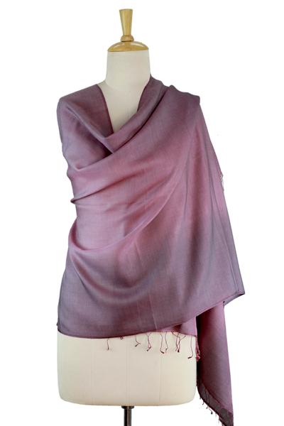 Silk and wool shawl, 'Amethyst Sigh' - Shaded Pink Shawl in Silk and Wool