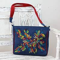 Embroidered cotton shoulder bag, 'Happy Holi' - Multicolored Embroidery on Blue Canvas Shoulder Bag