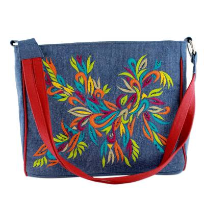 Multicolored Embroidery On Blue Canvas Shoulder Bag Hy Holi