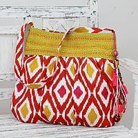 Cotton shoulder bag, 'Happy Energy' - India Fair Trade Cotton Shoulder Bag
