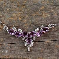 Amethyst flower necklace, 'Lavender Bloom' - 3.5 Cts Amethyst and Sterling Silver Necklace Floral Jewelry
