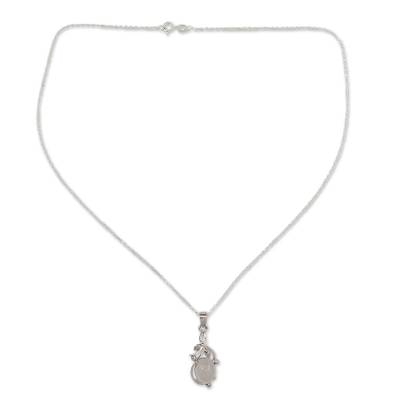 Moonstone pendant necklace, 'Surreal Treasure' - Fair Trade Moonstone and Sterling Silver Necklace
