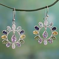 Multi gemstone flower earrings, 'Blossoming Colors' - Fair Trade Multi Gemstone and Sterling Silver Earrings
