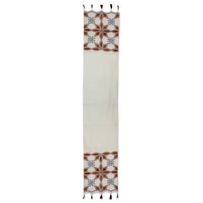 Beaded applique table runner, 'Ginger Stars' - Embroidered Applique Table Runner with Beadwork from India