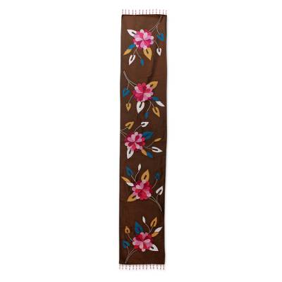 Appliqué table runner, 'Floral Cascade' - Pink and Lilac Applique Flowers on Brown Table Runner