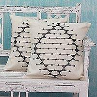 Cotton cushion covers, 'Monochrome Galaxy' (pair) - Cotton Patterned Black and Off White Cushion Covers (Pair)