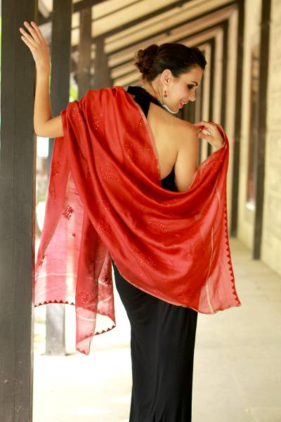 Cotton and silk blend shawl, 'Lucknow Coral' - Embroidered Cotton and Silk Blend Shawl Wrap