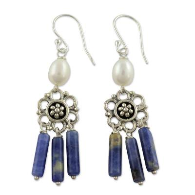 Cultured Pearl And Sodalite Chandelier Earrings Peaceful White