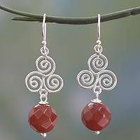 Carnelian dangle earrings, 'Whirlygig' - Hand Made Carnelian and Sterling Silver Earrings from India