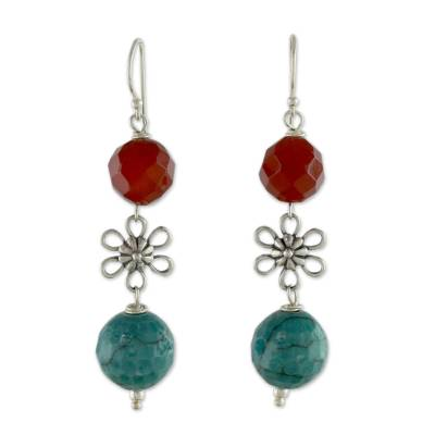 Carnelian and Agate Gemstone Floral Earrings from India