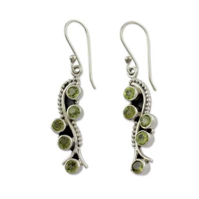 Sterling Silver Earrings with Peridot 2.5 Carats