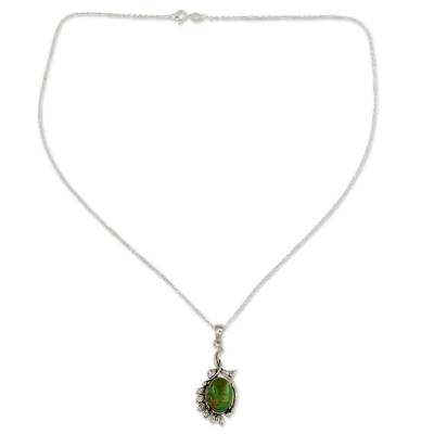 Sterling silver pendant necklace, 'Enchanted Forest' - Hand Crafted Green Composite Turquoise Necklace