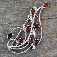 Garnet floral brooch pin, 'My Bouquet' - Floral Garnet and Sterling Silver Brooch Pin