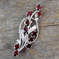 Garnet floral brooch pin, 'Elegant Passion' - Floral Garnet and Sterling Silver Brooch Pin from India