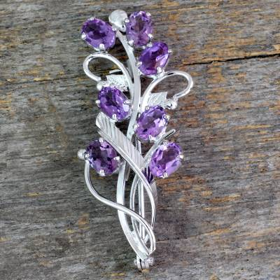 Amethyst floral brooch pin, 'Mystic Bouquet' - Artisan Jewelry Amethyst and Sterling Silver Brooch Pin