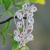 Blue topaz floral brooch pin, 'Sky Bouquet' - Fair Trade Blue Topaz and Sterling Silver Brooch Pin