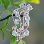 Fair Trade Blue Topaz and Sterling Silver Brooch Pin, 'Sky Bouquet'