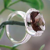 Smoky quartz cocktail ring, 'Mumbai Mist' - 3.5 Carat Smoky Quartz Silver Ring with Cubic Zirconia