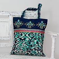 Embroidered cotton tote handbag, 'Floral Reflection' - Embroidered Beaded Cotton Print Tote