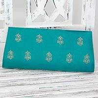 Embroidered clutch, 'Royal Turquoise' - Turquoise Clutch with Gold Embroidery
