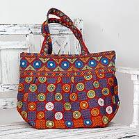 Cotton shoulder bag, 'Gujarati Fanfare' - Indian Embroidered Cotton Shoulder Bag