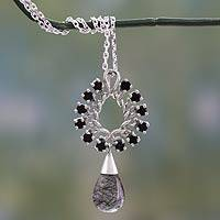 Tourmalinated quartz and onyx pendant necklace, 'Grand Elegance' - Onyx and Tourmalinated Quartz on Sterling Silver Necklace