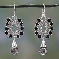 Tourmalinated quartz and onyx pendant necklace, 'Grand Elegance' - Onyx and Tourmalinated Quartz on Silver Earrings