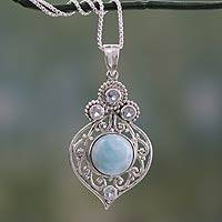 Larimar and blue topaz pendant necklace, 'Delhi Hope' - Fair Trade Larimar and Blue Topaz Silver Pendant Necklace