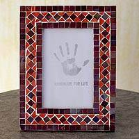 Glass mosaic photo frame, 'Lilac Coral' (4x6) - Purple and Orange Glass Mosaic Picture Frame from India